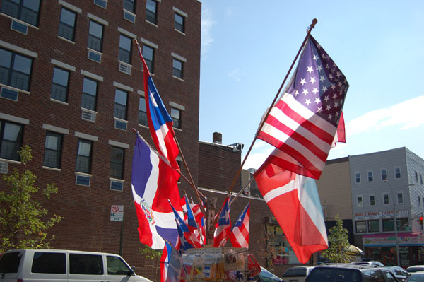 Flags (Dominican Republic, Puerto Rico, U.S.) on Moore Street