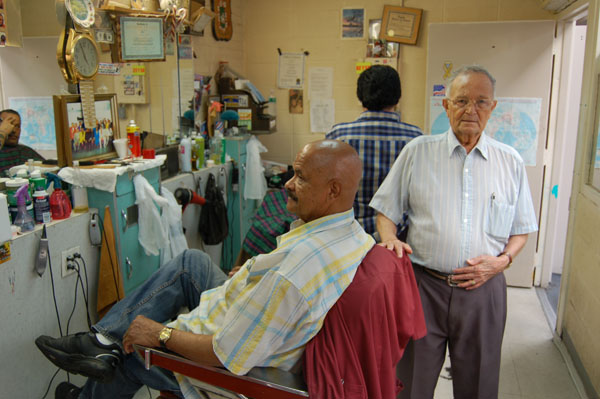 Barbers inside Moore Street Market