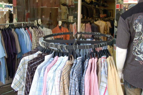 Men's shirts for sale outside
