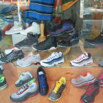 Sneakers for sale in the window