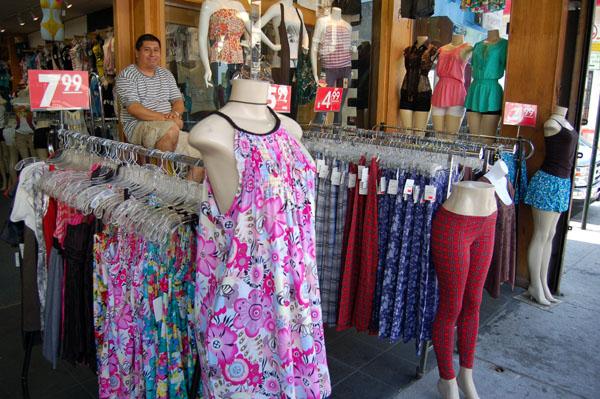 Sidewalk display for dresses, skirts and slacks